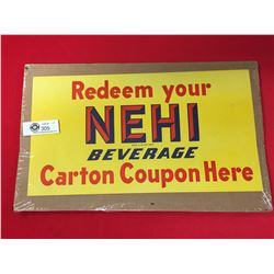 1940's Original Paper Window Sign NEHI Beverage