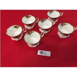 Royal Albert Fine Bone China 6 Tea Cups. Old Country Rose