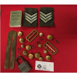 Vintage Military Lot. Buttons,Small Dictionary, Lock etc