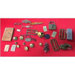Vintage Military Lot. Buttons, Lock and Key, ID Bracelet Tokens, Address Book