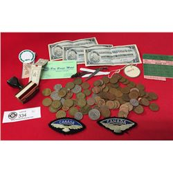 Vintage Miscellaneous Lot. Coins, world Coins, Pennies, Airforce Patches, Canadian Tire Money