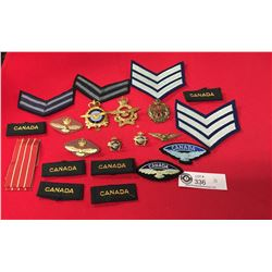 Vintage Canadian Airforce Lot of Cap Badges , Cloth Badges, Long Service Ribbon
