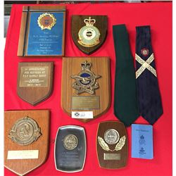 Royal Canadian Air Force Presentation Plaques, Plus Green Tie and Dress Tie Related to Airforce Mech