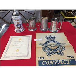 4 Royal Canadian Airforce Presentation Beer Steins Plus 2 Airforce Publications Beer Stein has a cra