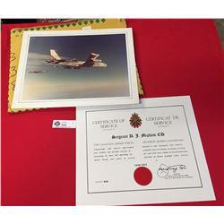 31 Years Certificate of Service The Canadian Armed Forces Plus a 15 x 12 Photo of a Fighter Jet Refu