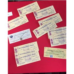 Bundle of Cancelled Cheques Medalta Potteries, Abbotsford Lumber BC Coast Vegetables.