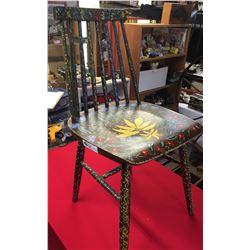 """Signed Hippie/Folk Art Kitchen Chair 32"""" H x 16"""" w"""