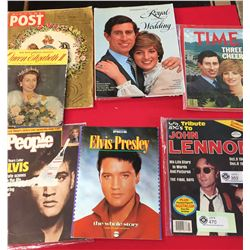 Vintage Lot of Magazines about The Royal Family, John Lennon, and Elvis Presley