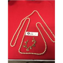 """50"""" Faux Pearl Necklace and Gold Plated Bracelet"""