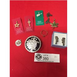 Nice Lot of Sterling Silver Broach, Earrings,{endants and a Silver Plated Dog Pendant