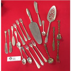 A Nice Collection of 20 pcs of Silver Plated Cutlery Forks, Knives, Spoons. Serving Pieces Plus Deco