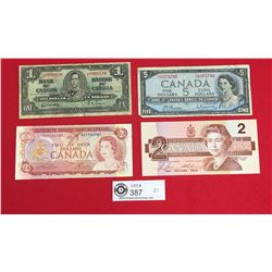 Lot of Old Canadian Currency. 1937$1, 1974 $2, 1954 $5 and 1986 $2 Notes