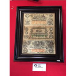 Picture Frame of 3 Old Civil War Notes. All Notes are Facsimile