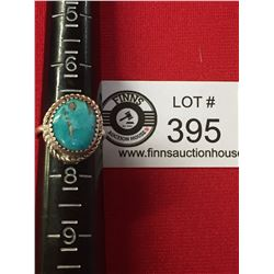 Sterling Silver Ring Size 7 with a Big Blue Turquoise Stone