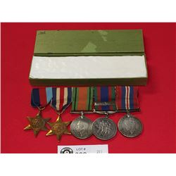 WW2 Canadian Silver Medals 3 Medals and 2 Stars Plus Canadian Bar.