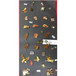 38 Lapel Pins Mickey Mouse, Fire Trucks, Canada/USA Flags, Animals etc