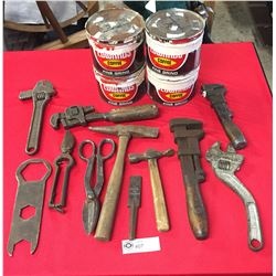Lot of Old Tools Wrenches, Hammers, Tin Snips plus 4 Edwards Coffee Tins.