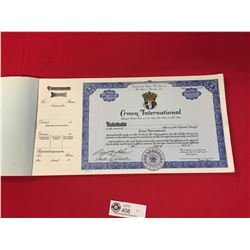 Book of Crown International  Stock Certificates Unissued. Over 40 in the Book