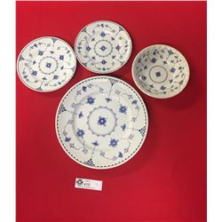 4 Pieces of Denmark Pattern Pottery