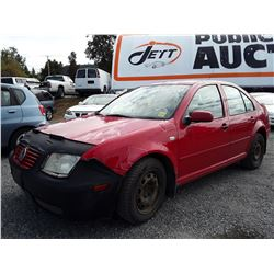 """A9 --  2002 VW JETTA , Red , 347501  KM's """"NO RESERVE"""""""