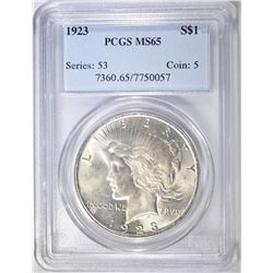 1923 PEACE DOLLAR, PCGS MS-65
