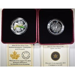 2 2014 $3 SILVER CANADIAN COINS: