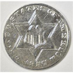 1857 3 CENT SILVER  AU/BU