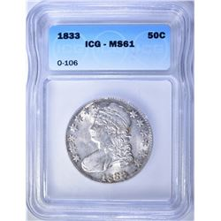 1833 CAPPED BUST HALF DOLLAR  ICG  MS-61
