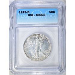 1929-D WALKING LIBERTY HALF DOLLAR ICG MS-63