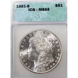 1881-S MORGAN DOLLAR ICG -65