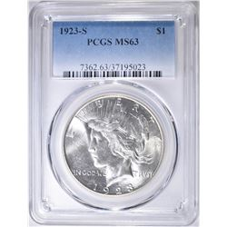 1923-S PEACE DOLLAR   PCGS  MS-63