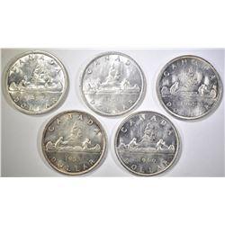 1953, 57, 59, 60 & 62 BU CANADIAN SILVER DOLLARS