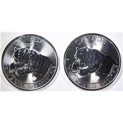2-2019 CANADA  ROARING GRIZZLY 1oz SILVER COINS