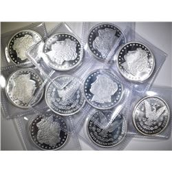 10-ONE OUNCE .;999 SILVER MORGAN REPLICA ROUNDS