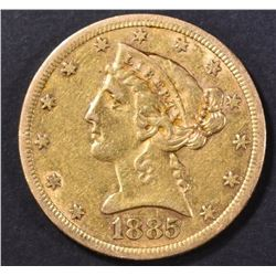 1885 $5.00 GOLD LIBERTY, XF