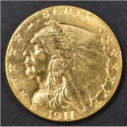 1911 $2.5 GOLD INDIAN BU