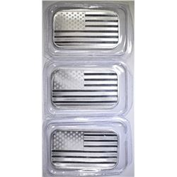 3-U.S. FLAG 1oz .999 SILVER BARS