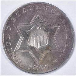 1855 3 CENT PIECE  CH BU