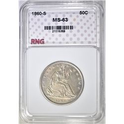 1860-S SEATED HALF DOLLAR  RNG CH BU