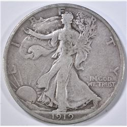 1919-D WALKING LIBERTY HALF DOLLAR  F-VF