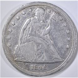1846 SEATED DOLLAR   XF/AU