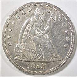 1853 SEATED DOLLAR  BU  OLD CLEANING