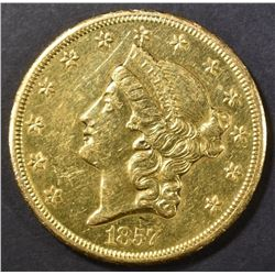 1857-S $20 GOLD LIBERTY  BU  OLD CLEANING