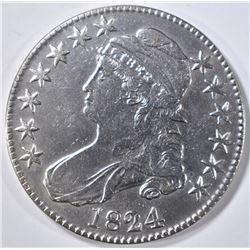 1824 BUST HALF DOLLAR AU/BU