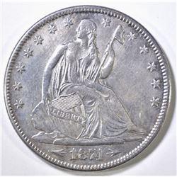1874 ARROWS SEATED LIBERTY HALF DOLLAR AU/BU