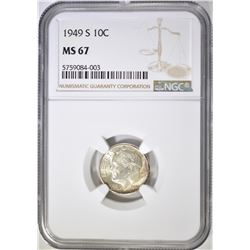 1949-S  ROOSEVELT DIME, NGC MS-67