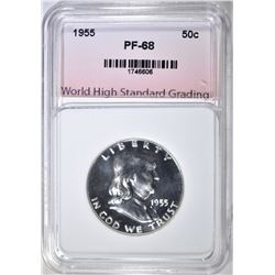 1955 FRANKLIN HALF, WHSG SUPERB GEM+ PROOF