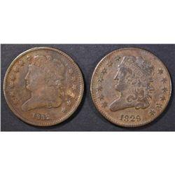 1829 & 1832 HALF CENTS VF