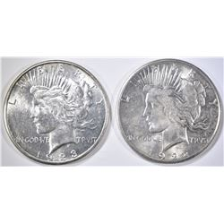 1922-S & 1923-S CH BU PEACE DOLLARS