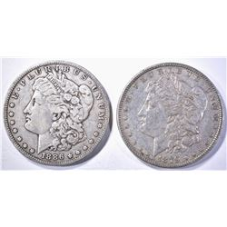 1886-O VF & 1879 AU BETTER DATE, MORGAN DOLLARS